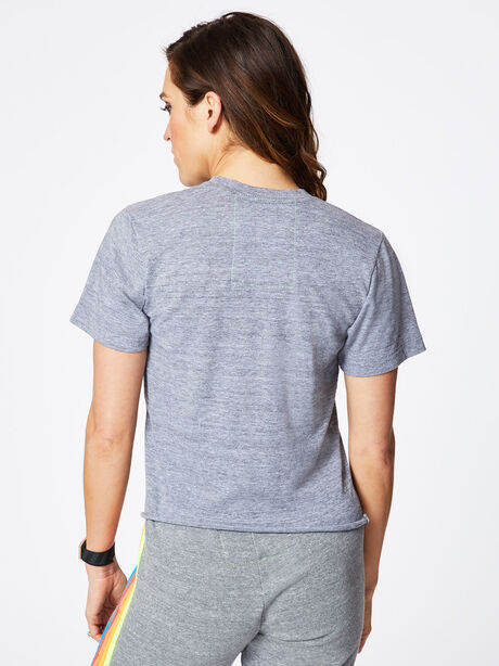 Smiley Embroidered Boyfriend Tee Heather Grey, Heather Grey, large image number 2