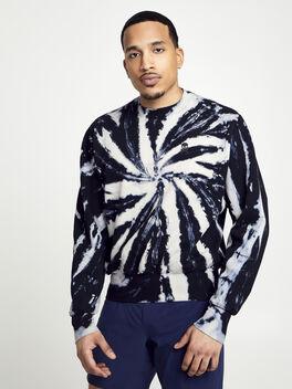 Derek Tie Dye Crew Neck Sweatshirt, Tie Dye/Black, large