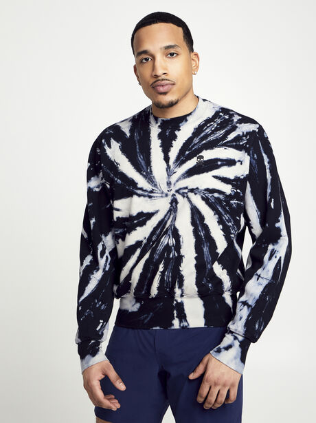 Derek Tie Dye Crew Neck Sweatshirt, Tie Dye/Black, large image number 0