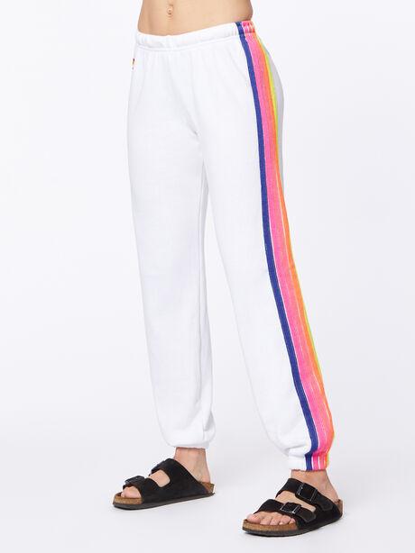 Exclusive 5 Stripe Sweatpant White/Rainbow London, White, large image number 3