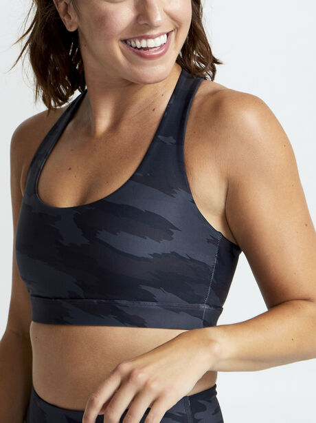 Double Knit Grey Camo Sports Bra, Light Grey Camo, large image number 1