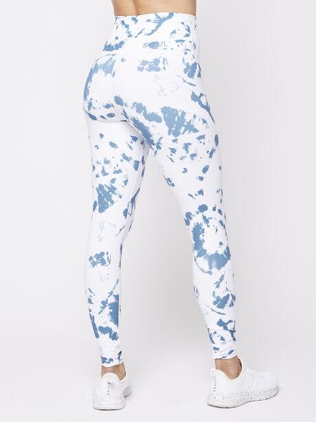 Foldover Waistband Tie Dye Legging, Blue/White, large image number 2