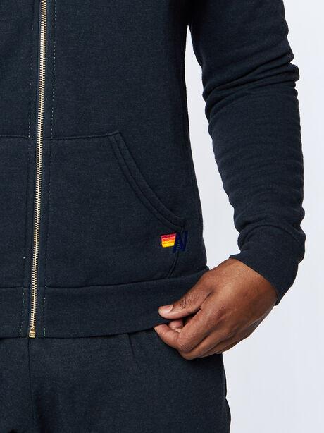 Exclusive Zip-Up Hoodie, Black Slub, large image number 3