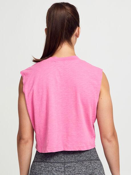 Tokyo Cropped Pink Tank Top, Hot Pink, large image number 3