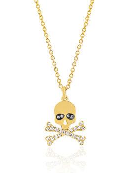 Skull Diamond Necklace, Gold, large