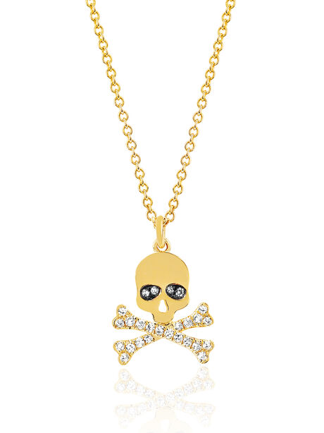Skull Diamond Necklace, Gold, large image number 0