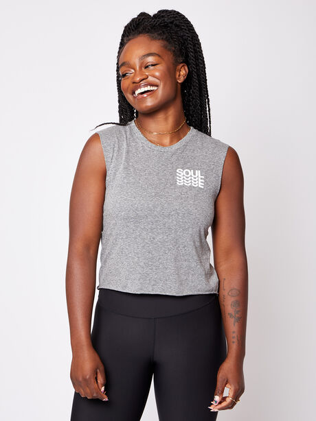 London Cropped Muscle Tank with Soul, Heather Grey, large image number 0