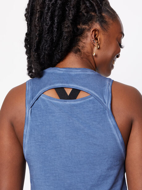 Cut Black Crop Tank Washed Ink Blue, , large image number 4