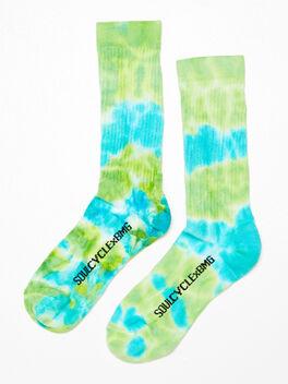 Unisex Tie-Dye Crew Sock Blue/Green, Blue/Green, large