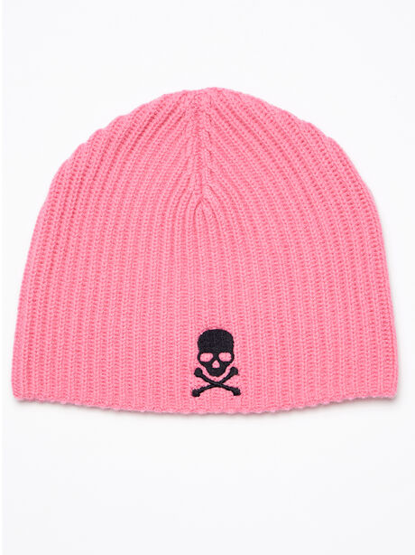 RIBBED BEANIE WITH SKULL- CASH, Tan, large image number 0