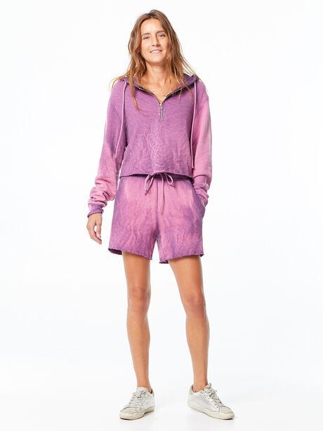 Brooklyn Cropped Quarter-Zip Hoodie Lavender Mix, Purple, large image number 0