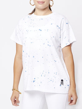 Weekend Splatter Tee, White/Black, large