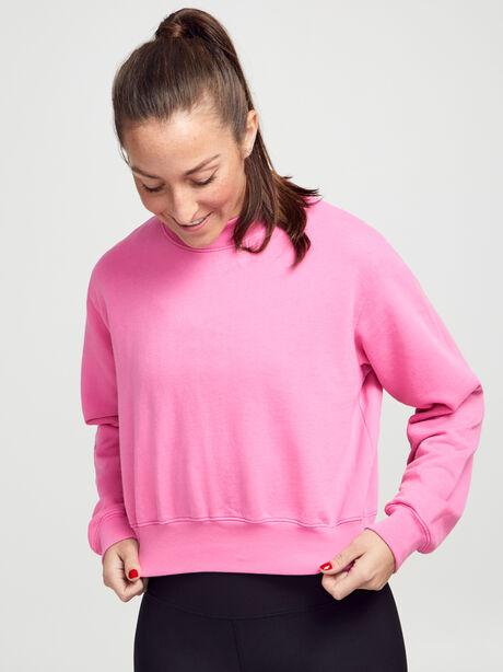 Milan Cropped Crewneck Sweatshirt, Hot Pink, large image number 1