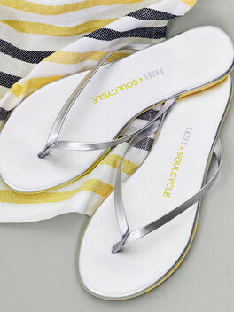 Silver Flip Flop Yellow Outsol, Silver, large