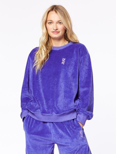 Velour Crew Neck Sweatshirt Spectrum Blue, Blue, large image number 1