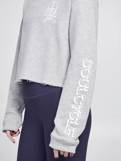 Casey Cropped Sweatshirt , Heather Grey, large image number 1