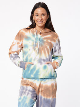 Tie-Dye Billie Hoodie Forest/Steel/Golden Brown, Tie Dye, large