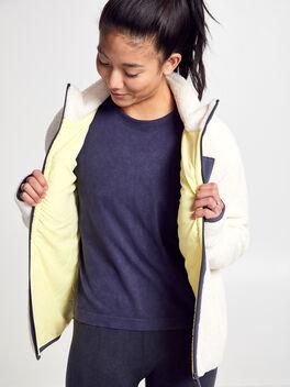 White Shearling Tri-Tone Zip-Up, Natural, large
