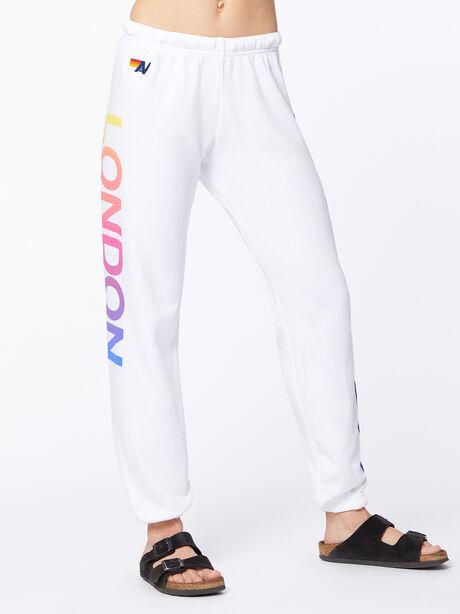 Exclusive 5 Stripe Sweatpant White/Rainbow London, White, large image number 2