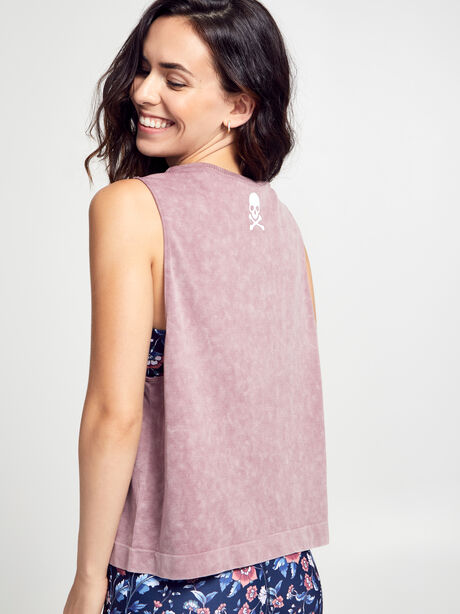 Mineral Wash Boxy Tank Top, Dusty Mauve, large image number 1