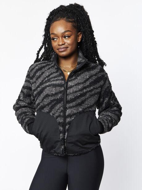 Napoli Sherpa Jacket Zebra, Grey/Black, large image number 0