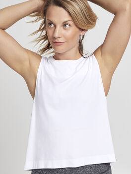 Seamless White Tank Top, White, large