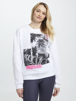 Palm and Bike Crewneck White And Pink, White, large