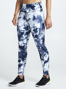 Contour And Print Leggings, Navy/White, large