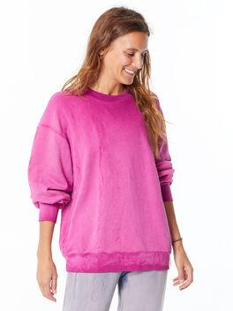 Oversized Brooklyn Crew Neck Sweatshirt Magenta Mix, Magenta, large