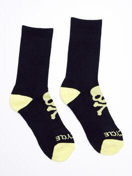 Black/Elfin Yellow Calf Socks, Black, large