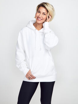 Tonal Hoodie Sweatshirt, White, large