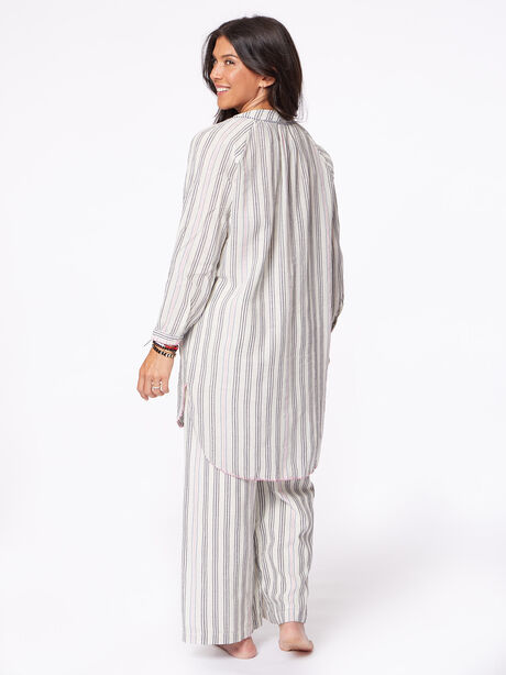 Striped Beach Cover Up, Natural, large image number 1