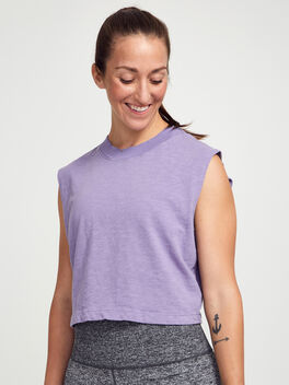 Tokyo Cropped Lilac Tank Top, Vintage Lilac, large
