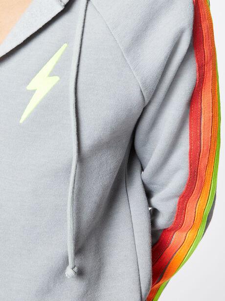 Split Neck 4 Stripe Hoodie Light Grey, Light Grey, large image number 1