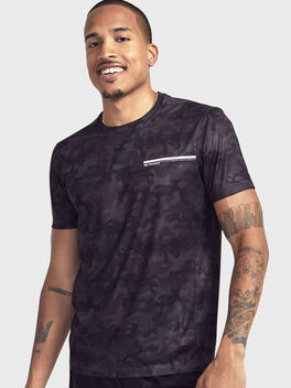 Camo Short-Sleeve Shirt, Black Camo, large