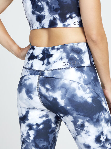 Contour And Print Leggings, Navy/White, large image number 2