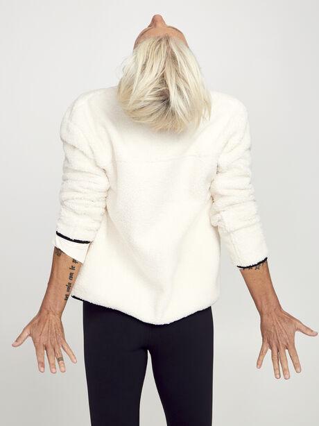 Cream Zip Sherpa, White, large image number 3