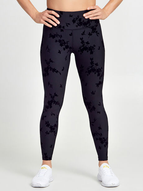 Velvet Flocked Floral Print Leggings, Black, large image number 0