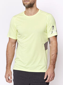 Fast and Free Short Sleeve London, Heathered Solar Yellow/Carbon, large