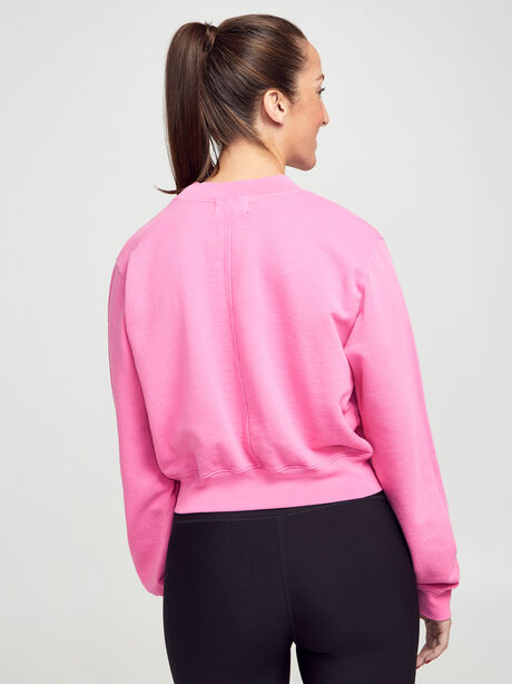 Milan Cropped Crewneck Sweatshirt, Hot Pink, large image number 2