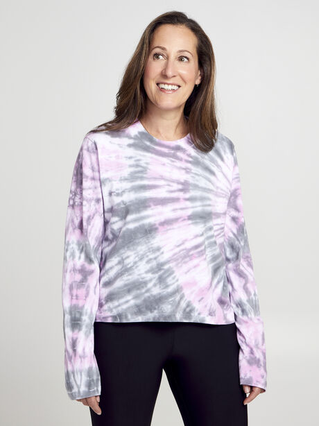 After Class Long Sleeve Tie Dye, Classic Charcoal/Hot Pink/Ref, large image number 0
