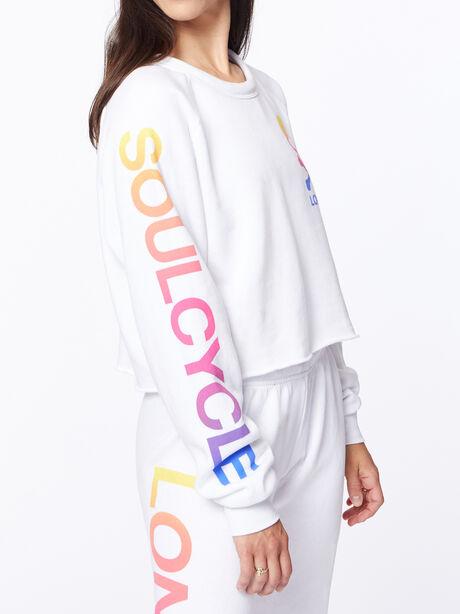 Exclusive Classic Cropped Crew Sweatshirt White/Rainbow London, White, large image number 3