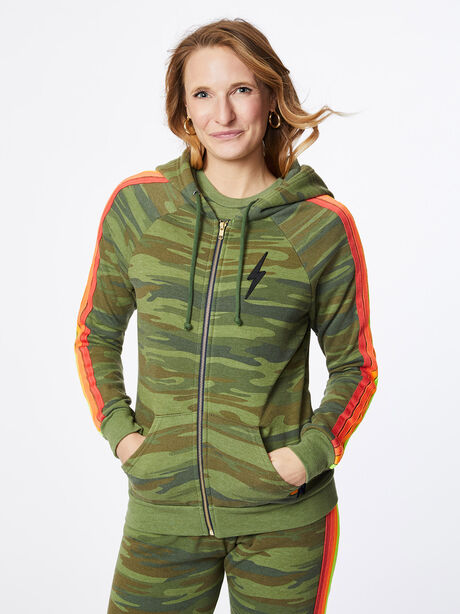 Classic 4 Stripe Zip-Up Hoodie Camo, Green/Camo, large image number 0