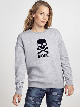 Flocked Skull Sweatshirt, Heather Grey, large