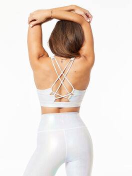 Looped X Back Bra Pearl Foil, White, large