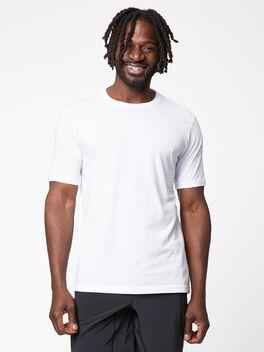 Men's Poly/Cotton Crew, White, large