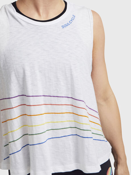 Rainbow Stripes Boxy Tank Top, White, large image number 1