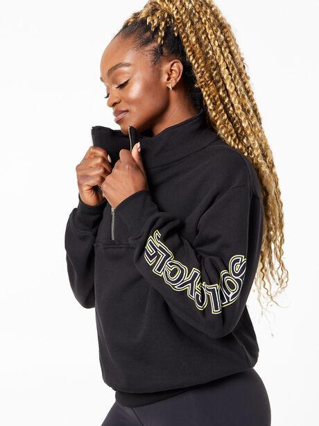 Katie Quarter Zip Sweatshirt Black, Black, large image number 0