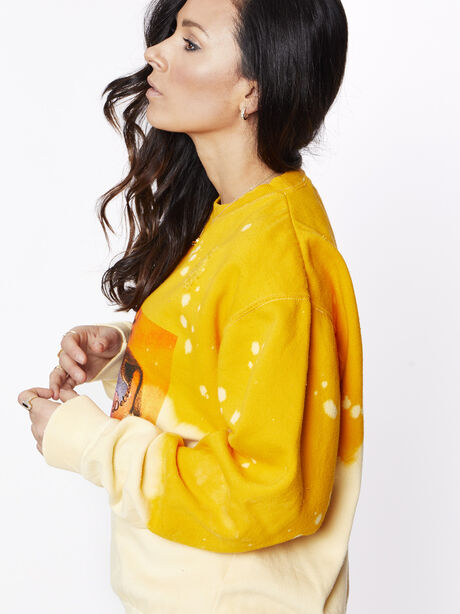 Acid Wash Sunrise Licked It Pullover, Yellow, large image number 3