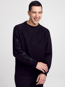 Crewneck Tonal Sweatshirt, Black, large